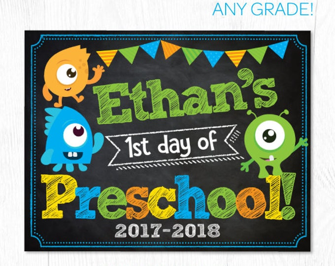 Little monster back to school sign, 1st day of preschool printable sign, Any grade!, Printable sign