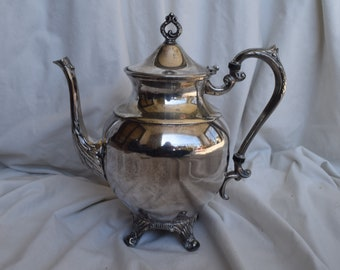 Vintage Sheridan Silver Footed Teapot, Coffee Pot, Silver On Copper, Shabby Chic, Boho Chic, Home Decor, Decorative Objects, Silver Teapot