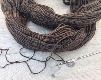 Reclaimed Wool Yarn: Black Wallnut (500 yds.)
