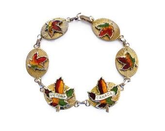 Victoria Canada Souvenir Bracelet - Enamel Bracelet, Gold Tone, Canadian Maple Leaves, Tourist Jewelry, Vintage Bracelet, Vintage Jewelry