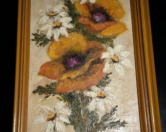 Vintage 1970's oil painting with unattached frame. Flowers on canvas