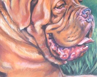 Dogue de bordeaux dog portrait art CANVAS print of LA Shepard painting 8x10