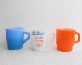 Vintage Anchor Hocking Fire King Mug Set - Blue Orange Beltone Stacking Mugs - Fired On Color Milk Glass