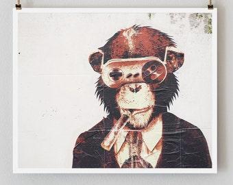 "Paris Photography, ""Graffiti Monkey"" Paris Print, Urban Modern Art Print, Boyfriend Gift for Him, College Student Gift"