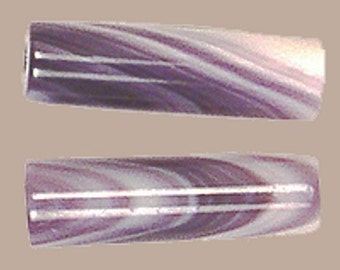 BARGAIN - Genuine Wampum Tube Beads - Set of 2 (Made of Quahog Shell) - Purple and White - Approximately 10mm by 4mm     (JWL)