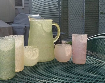 Colorcraft Spaghetti Glass Pitcher With Two Roly Polys and Three Tumblers