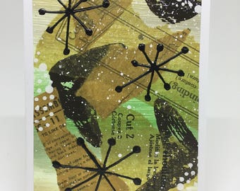 """Mixed Media Collage - Greeting Card """"By the Stars"""""""