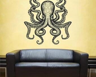 Octopus Wall Decal Kraken Decal Sea Animals Octopus Vinyl Wall Decals Nautical Wall Decals Bedroom Bathroom Decor kik1201