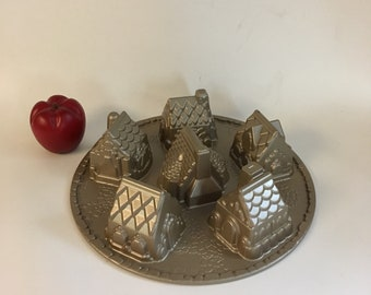 Nordicware Cozy Village Pan, Specialty Cake Pan, kitchenalia, Holiday Motif Bakeware, bakery supply, Heavy Metal Cake Pan
