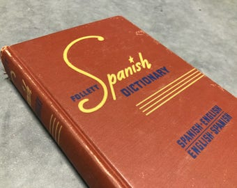 Spanish English Dictionary Vintage Brown Hardcover Distressed Language Reference 1948