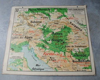 Vidal Lablache 32 States Danube vintage map