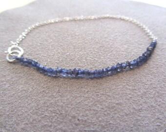 September Birthday, Blue Water Sapphire Gemstone, Blue Beaded bracelet, September Birthday Gift, Blue Iolite Gemstones, Virgo Birth