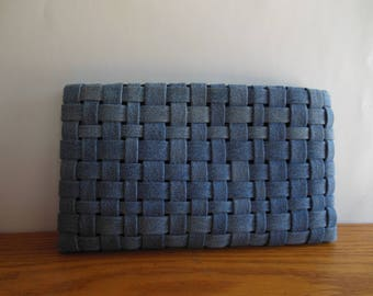 Woven Clutch of Upcycled Denim, clutch purse, denim, clutch bag