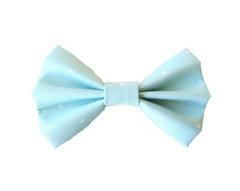 Aqua and White Polka Dot Fabric Bow Hair Clips or Bow Ties - dainty and Dapper - Aqua and White