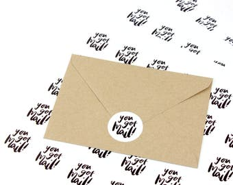 Packaging stickers 'you got mail' - mail stickers - post labels - envelope stickers - happy mail stickers - you got mail stickers