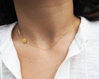 Gold Lotus Necklace, Offside Lotus Necklace, Sideways Lotus Necklace