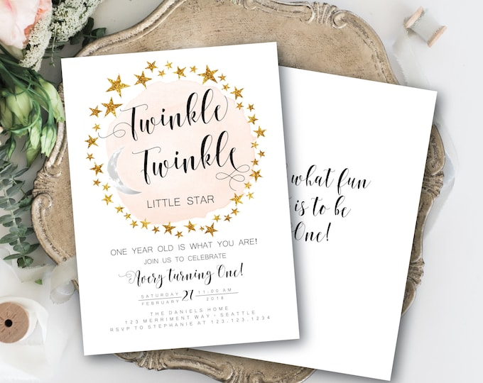 Modern Twinkle Twinkle First Birthday Invitation Girl Pink One Black and White and Gold Stars Minimalist Elegant SEATTLE COLLECTION