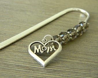 Mom Bookmark with Smoky Quartz Glass Beads Silver Color Shepherd Hook Steel Bookmark