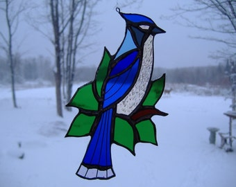 blue jay/leaves, stained glass suncatcher