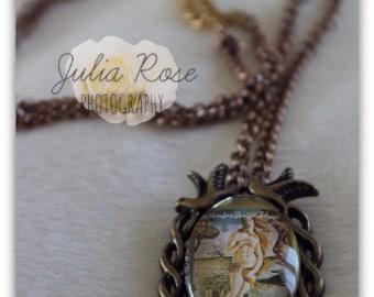 Birth of Venus stamp pendant necklace