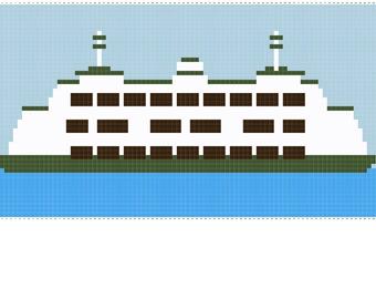 Washington State Ferry - Pacific Northwest - PNW - Seattle Ferry Boat Cross Stitch Pattern