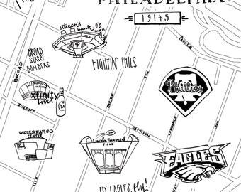 Sports Complex Hand-Drawn Map Philadelphia 8x10