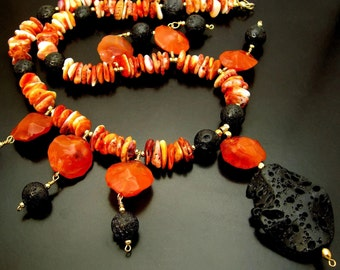 SERAPHIM ~ Spiney Oyster, Carnelian,  Lava Stone, 14kt Gold Fill Necklace