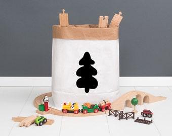 Paper bag M - Christmas tree black - powder cloud