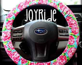 Steering Wheel Cover First Impression Rose w/ Matching Keychain Option - Pink and Turquoise - add Grip Stop Option - Girls Car Accessories