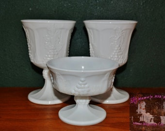 White Milk Glass, Grape Shaped Pattern, Excellent Condition