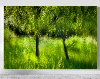 Lime green, abstract, canvas, large wall art, extra large, large canvas, forest, trees, photography, green abstract, tree abstract