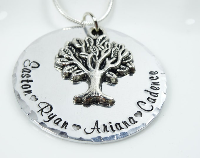 Hand stamped family tree necklace! Grandma necklace! Personalized grandma gift. Personalized Mom gift