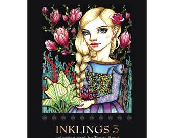 COLORING / colouring book for adults and children - wire binding on top - INKLINGS 3 - featuring 24 illustrations by Tanya Bond