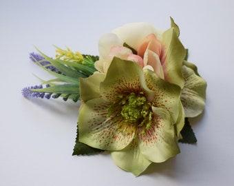 Vintage hair flower, hair clip, hair flower, pin up flower, bride, hellebore, ranunculus, apple blossom, fascinator, lavender, boho, wedding