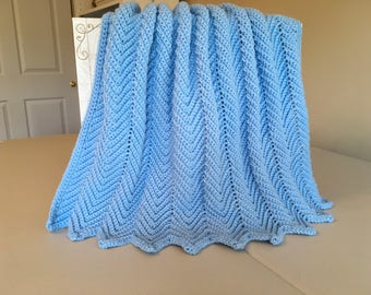 Crocheted Ripple Baby Afghan -Blue