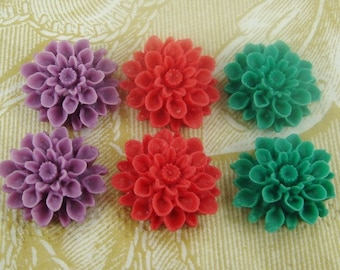 37-MIX-3-CA  6pcs  Chrysanthemum Cabochons - Mix Colour.