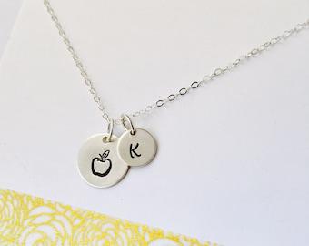 Teacher Necklace, Teacher gift, Teacher Jewelry, Apple Necklace, Simple Teacher Necklace, Sterling Silver Teacher Necklace