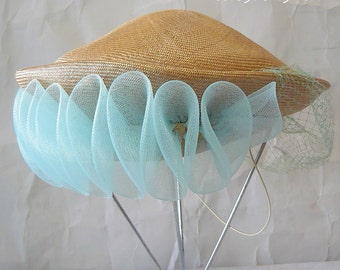 Vintage Small Straw Hat with SHEER Blue FLUTED Veil Netting / 1950s Anita Pineault of Canada