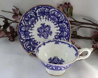 Coalport Blue and White Teacup and Saucer Set, Pattern 5012-A, England