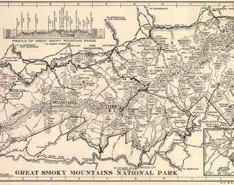 Great Smoky Mountain National Park Map/ Gatlinburg Tennessee / vintage Tennessee map