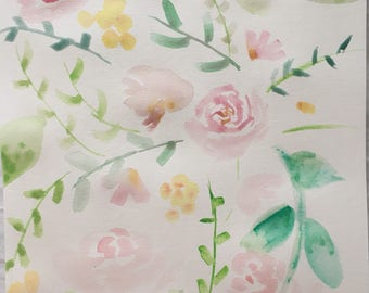 Vintage Inspired Roses ORIGINAL Watercolor Painting