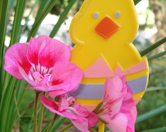 Vintage  Yellow Duck in Egg, Cake Topper, Floral Pick, Easter Decoration, Holiday Decor  (1794-09)