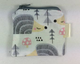 Coin purse, knitting notions pouch, mini zipper case, girls purse, hedgehog purse, fabric purse, coin wallet, knitting item case, girls gift
