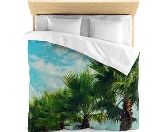 Palm Row Bedding Set | Palm Tree Duvet Cover | Nature Bedding | Beachy Home Decor | Pillow Shams | King Duvet Cover | Tropical | Palm Trees