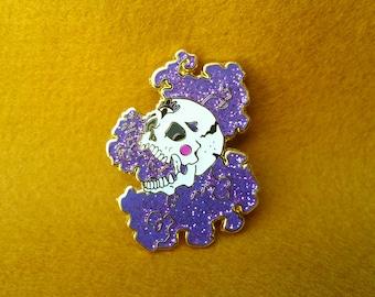 Glitter Skull Large Hard Enamel Pin - purple, gold, white, lapel pin cloisonne badge brooche, pins, skull pin, enamel pins, skull
