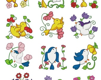 Bird & Flower Embroidery Design Zip File Download