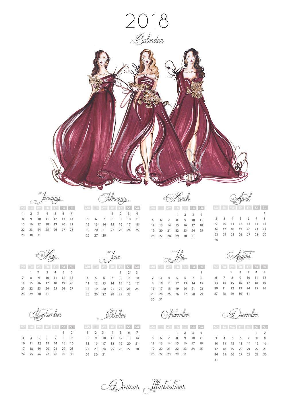 Fashion Illustration Calendar : Glance calendar fashion illustration