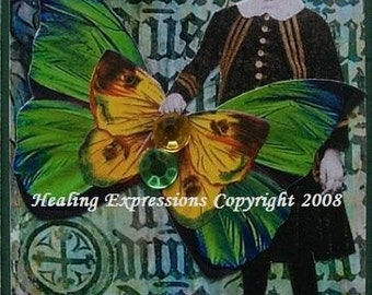 GREAT COURAGE altered art collage wings therapy faith ATC ACEO PRINT