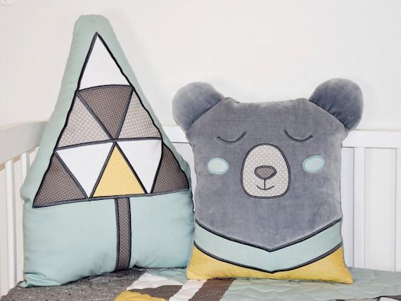 Bear Pillow, Woodland Cushion, Teddy Plush