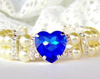 Sapphire heart rhinestone bracelet / Double strand ivory pearl bracelet / Mothers day / gift for her / September birthstone / white pearl